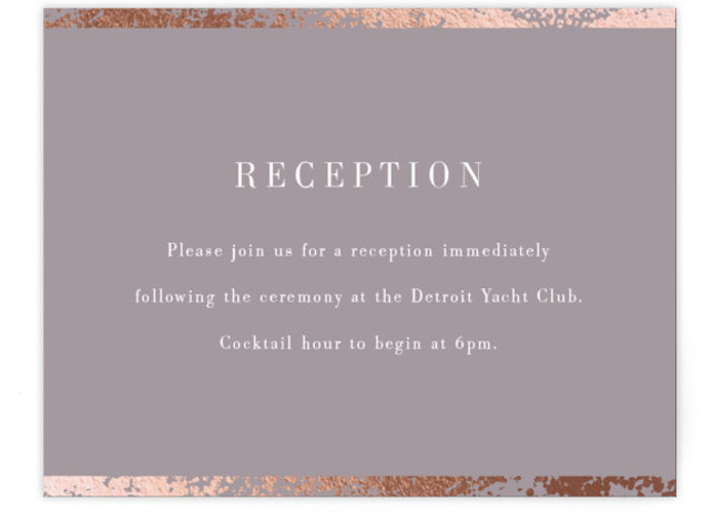 This is a grey, rosegold Reception Cards by Snow and Ivy called Fleck with Foil Pressed printing on Signature in Card Flat Card format. Organic speckled foil design creates elegant border for this elegant, typography based wedding invitation.