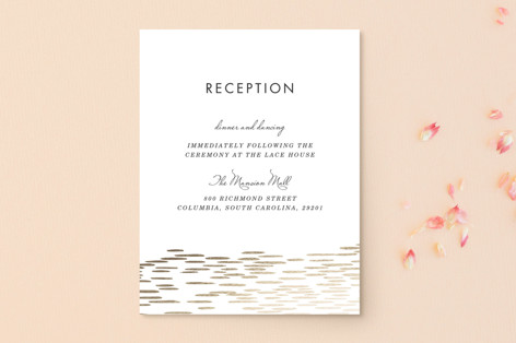 """""""Sahara Shimmer"""" - Foil-pressed Reception Cards in Almond by Makewells."""