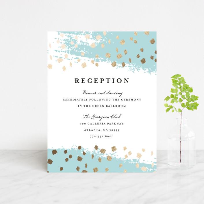 """Modern Dot"" - Foil-pressed Reception Cards in Aqua by Red Door Design."