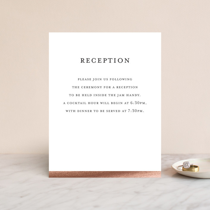 """""""Curator"""" - Foil-pressed Reception Cards in Rose Gold by Snow and Ivy."""
