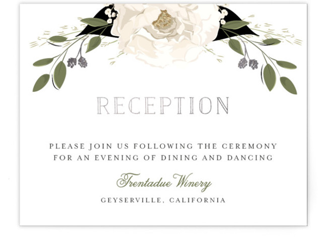 This is a white, green, silver Reception Cards by Susan Moyal called Petal Surround with Foil Pressed printing on Signature in Card Flat Card format. This wedding invitation features a frame of flowers, leaves and gilded berries.