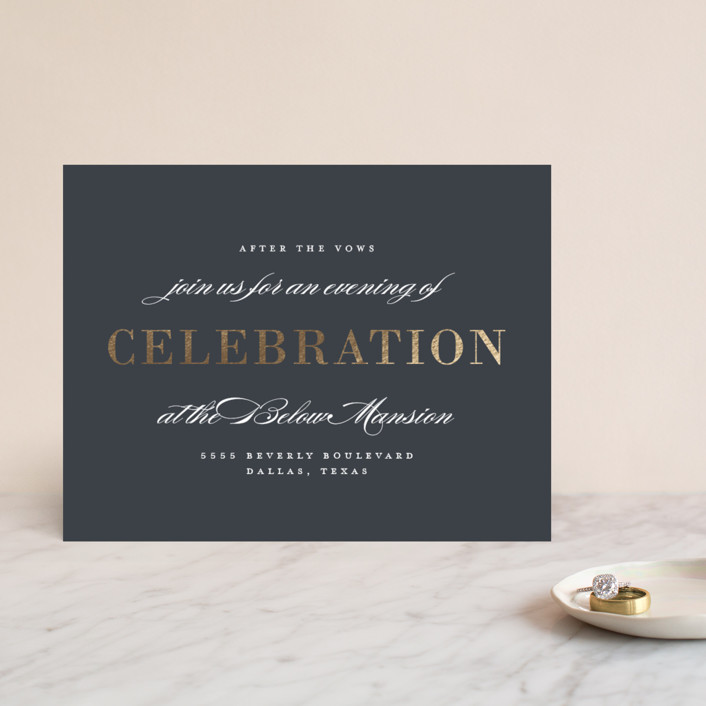 """Unconditional"" - Foil-pressed Reception Cards in Granite by Lauren Chism."