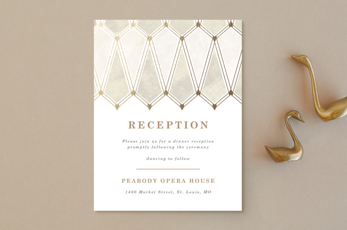 """Deco Opulence"" - Foil-pressed Reception Cards in Champagne by Rebecca Durflinger."