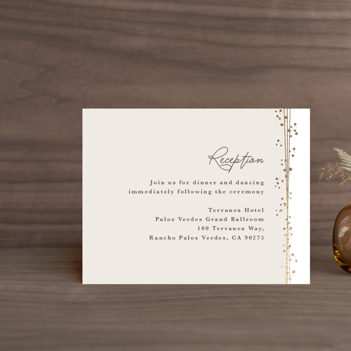 """""""Tiara"""" - Bohemian Foil-pressed Reception Cards in Ivory by Tatiana Nogueiras."""