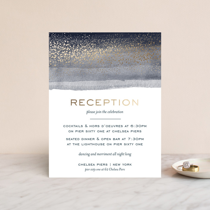 """Zen Horizons"" - Foil-pressed Reception Cards in Citylights by shoshin studio."