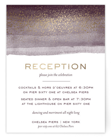 This is a purple, gold Reception Cards by shoshin studio called Zen Horizons with Foil Pressed printing on Signature in Card Flat Card format. Watercolor suggestion of tides and the glow of city lights conjure a scenic waterfront