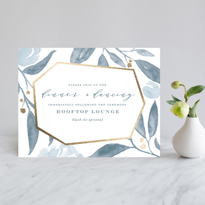 """""""Lovely Beginning"""" - Foil-pressed Reception Cards in Champagne by Oscar & Emma."""