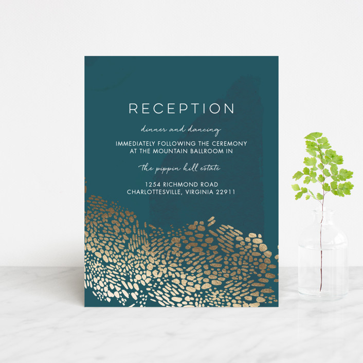 """Deep Ocean Currents"" - Foil-pressed Reception Cards in Teal by Makewells."