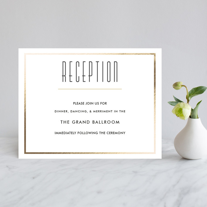 """Bold Romance"" - Foil-pressed Reception Cards in Ivory by Oma N. Ramkhelawan."