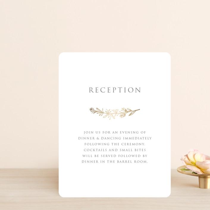 """Gilded Laurels"" - Foil-pressed Reception Cards in Steel by Rochelle Renee."