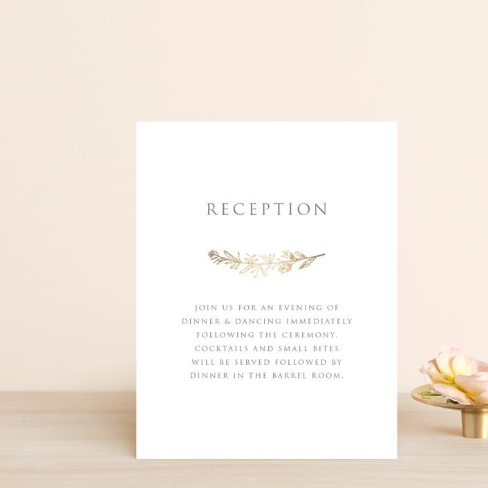 """""""Gilded Laurels"""" - Foil-pressed Reception Cards in Steel by Smudge Design."""
