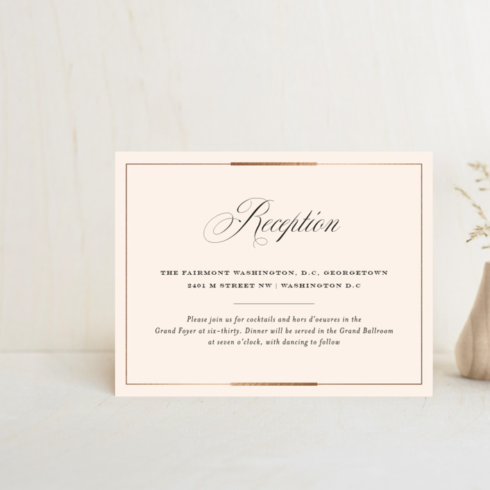 """""""Cambridge"""" - Foil-pressed Reception Cards in Ivory by Meagan Christensen."""
