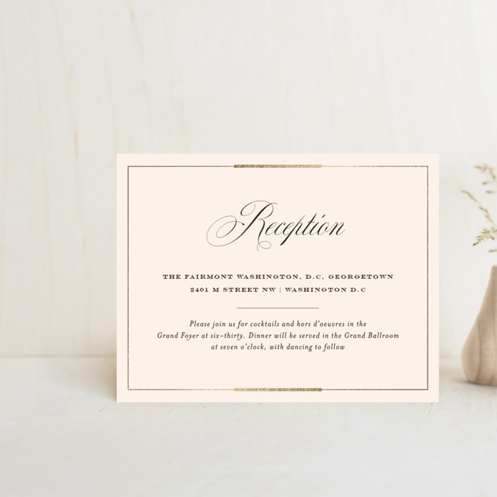 """""""Cambridge"""" - Foil-pressed Reception Cards in Ivory by Little Words Design."""