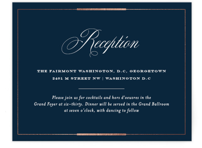 This is a blue, rosegold Reception Cards by Little Words Design called Cambridge with Foil Pressed printing on Signature in Card Flat Card format. A traditional black and ivory design incorporating elegant scripts and bold formal lettering with gold accents. ...