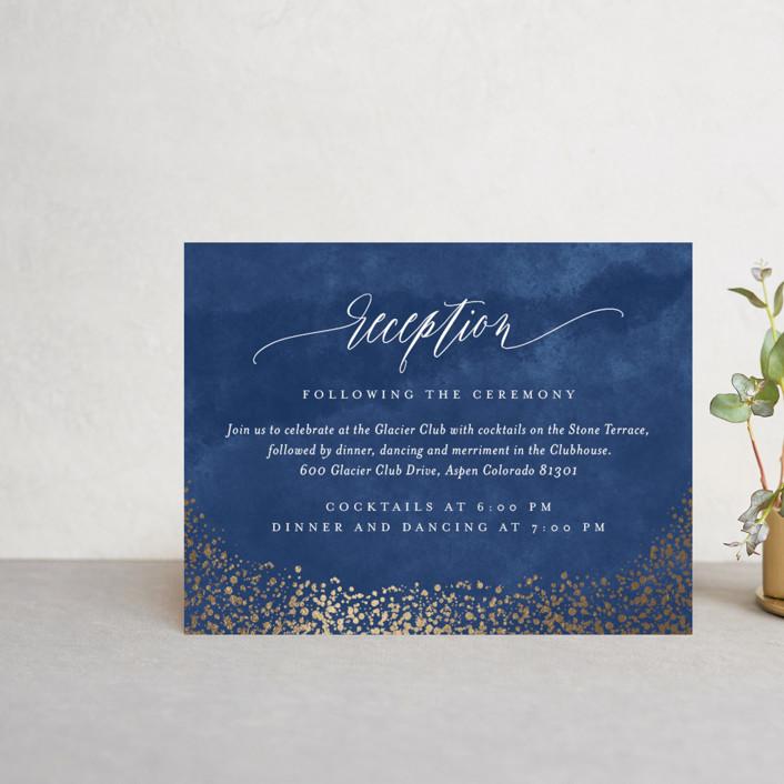 """Aspen"" - Foil-pressed Reception Cards in Midnight by Kristie Kern."