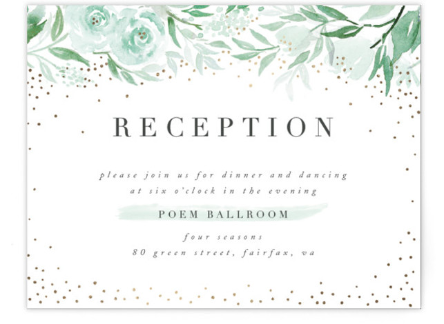 This is a green, gold Reception Cards by Qing Ji called Monogrammed watercolor floral with Foil Pressed printing on Signature in Card Flat Card format. Elegant wedding invitation featuring hand painted watercolor floral, with the monogram integrated with the flowers ...