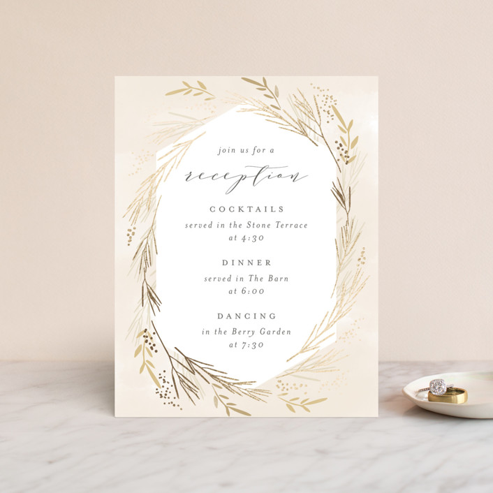 """Wheat Field"" - Foil-pressed Reception Cards in Goldenrod by Kristie Kern."