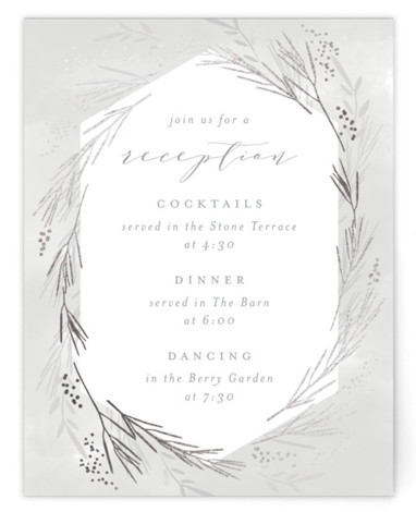 This is a grey, silver Reception Cards by Kristie Kern called Wheat Field with Foil Pressed printing on Signature in Card Flat Card format. Wheat and organic elements create a beautiful backdrop for a country wedding.