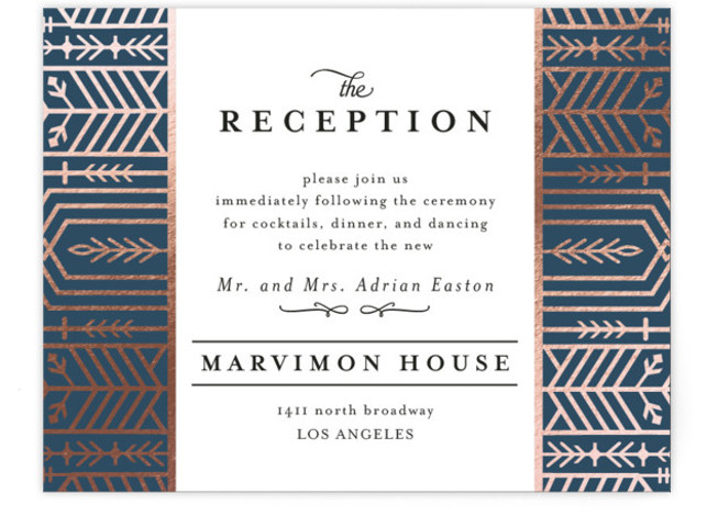 This is a blue, rosegold Reception Cards by Melanie Kosuge called ALEXA with Foil Pressed printing on Signature in Card Flat Card format. A modern wedding invite featuring elegant, hand drawn illustration work and pattern design.