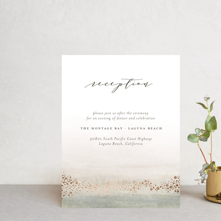 """""""OCEANS"""" - Foil-pressed Reception Cards in Ocean by Wildfield Paper Co.."""
