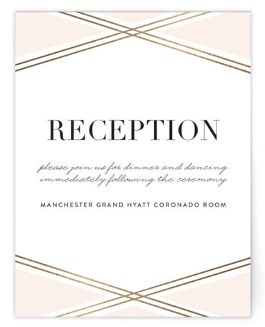 This is a pink, gold Reception Cards by Erica Krystek called Modern Ribbon with Foil Pressed printing on Signature in Card Flat Card format. This elegant design features charming gold lines paired with a neutral palette and clean typography.