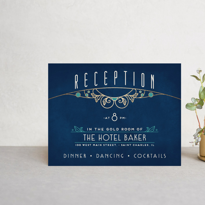 """Ornate Deco"" - Foil-pressed Reception Cards in Goldenrod by GeekInk Design."