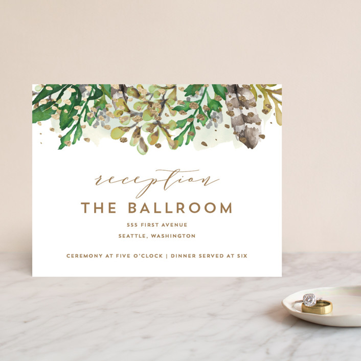 """""""Bohemian Beauty"""" - Foil-pressed Reception Cards in Garden by AK Graphics."""