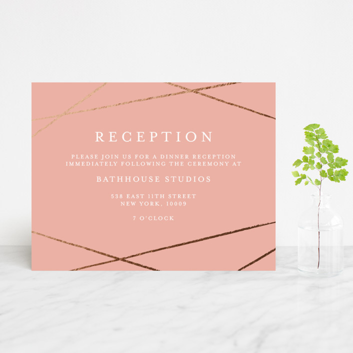 """Abstract Elegant"" - Foil-pressed Reception Cards in Rose by Belia Simm."