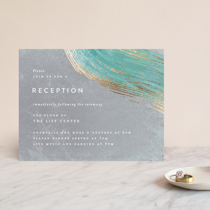 """Abstract Splendor"" - Foil-pressed Reception Cards in Turquoise by Hooray Creative."