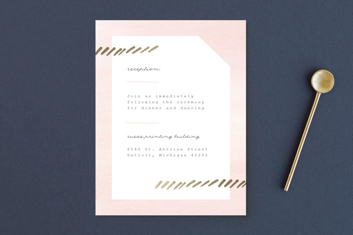 """""""Pas de Chat"""" - Foil-pressed Reception Cards in Blush by Genna Cowsert."""