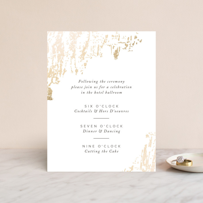 """""""Timber"""" - Foil-pressed Reception Cards in Cloud by Kimberly Morgan."""