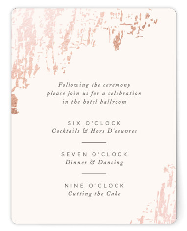 This is a pink, rosegold Reception Cards by Kimberly Morgan called Timber with Foil Pressed printing on Signature in Card Flat Card format. A gorgeous rich texture in gold foil sets the tone for an elegant and rustic wedding.