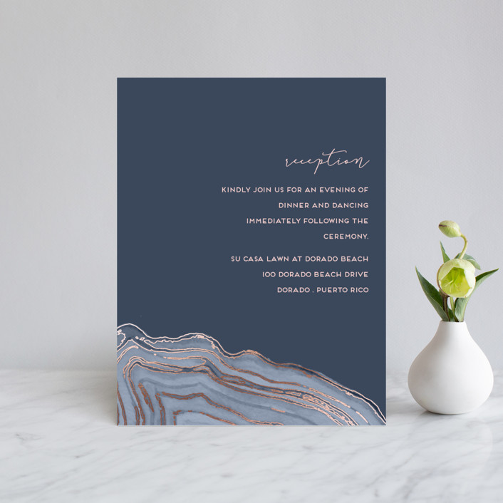 """""""Modern Agate"""" - Foil-pressed Reception Cards in Navy by Kaydi Bishop."""