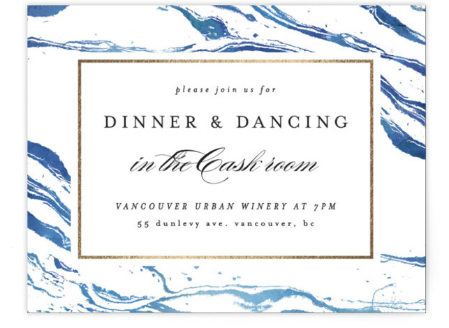 This is a blue, gold Reception Cards by Kelly Schmidt called Shimmering Waves with Foil Pressed printing on Signature in Card Flat Card format. The blue marbled effect hints at waves, perfect for a lake, coastal or island wedding