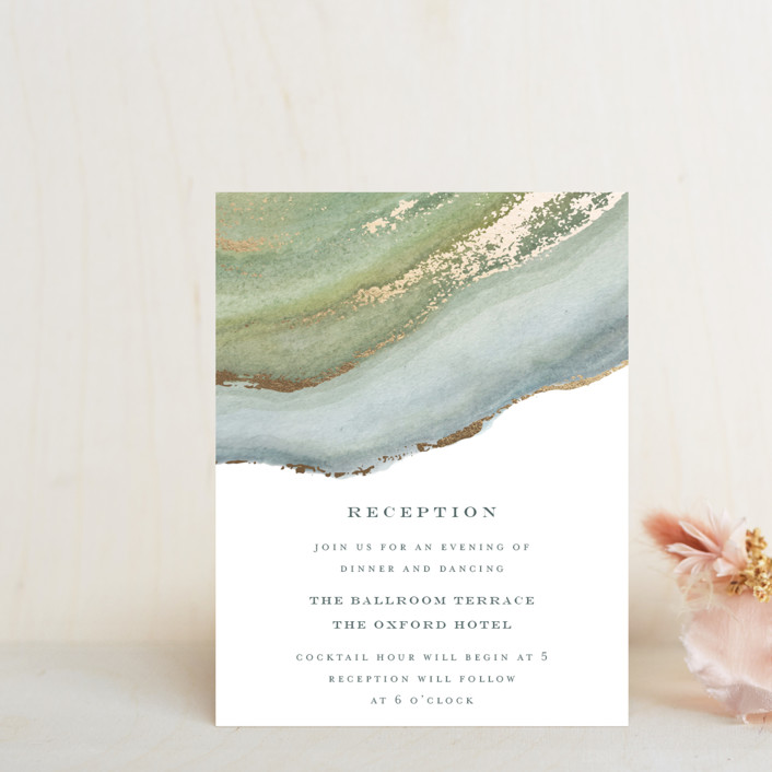 """Coastal Lines"" - Foil-pressed Reception Cards in Moss by Grace Kreinbrink."