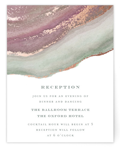 This is a pink, rosegold Reception Cards by Grace Kreinbrink called Coastal Lines with Foil Pressed printing on Signature in Card Flat Card format. Coastal inspired hand painted watercolor backdrop with gilded foil accents and soft muted color palette.