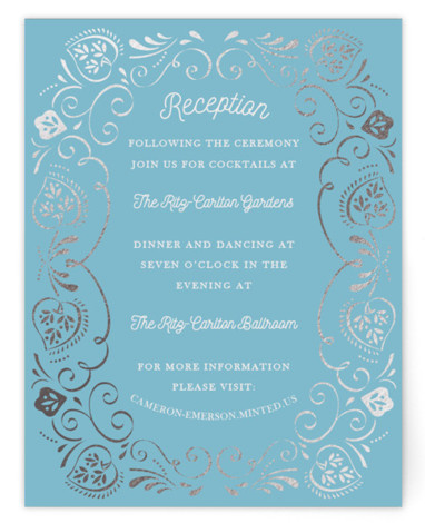 This is a silver, blue Reception Cards by Ana de Sousa called Sweet leaves with Foil Pressed printing on Signature in Card Flat Card format. A very elegant card that features a frame inspired in natural elements