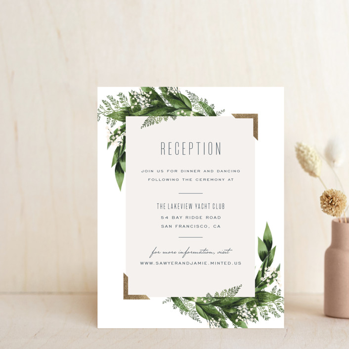 """""""Diamante"""" - Foil-pressed Reception Cards in Forest by Leah Bisch."""