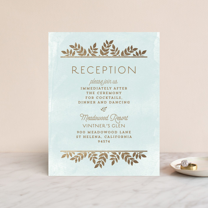 """Elegant Lines"" - Foil-pressed Reception Cards in Sky by Chris Griffith."