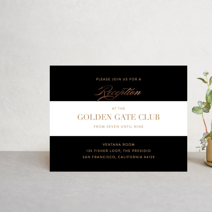 """""""Fashion District"""" - Foil-pressed Reception Cards in Black Tie by Jill Means."""