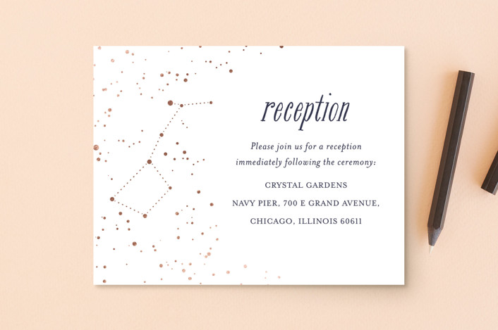 """Starlight"" - Foil-pressed Reception Cards in Blue Violet by Snow and Ivy."