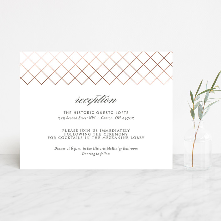 """Elegantly Lined"" - Foil-pressed Reception Cards in Petal by Robin Ott."