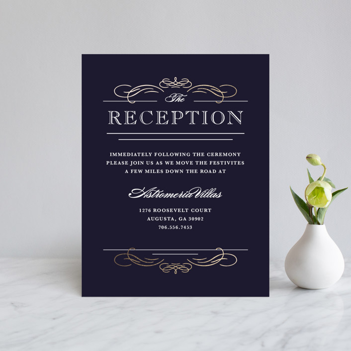 """Elegant Flourishes"" - Foil-pressed Reception Cards in Navy by Kristen Smith."