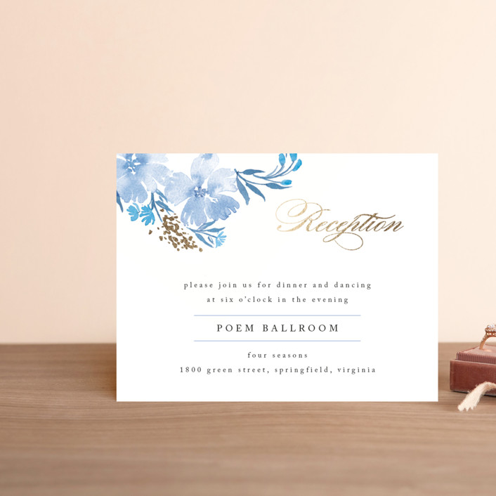 """Poetic Blue"" - Foil-pressed Reception Cards in Sky by Qing Ji."