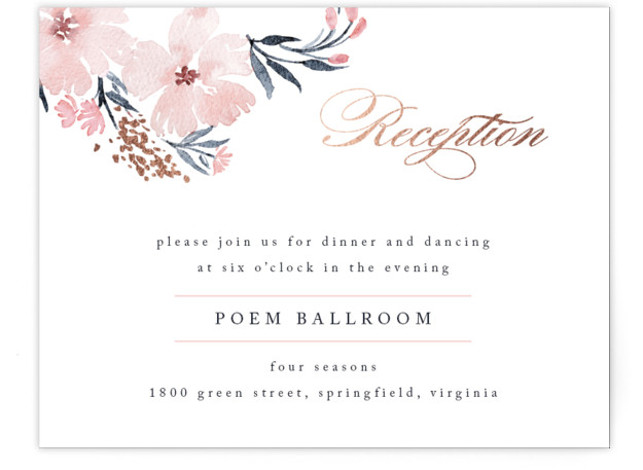 This is a landscape floral, pink, rosegold Reception Cards by Qing Ji called Poetic Blue with Foil Pressed printing on Signature in Card Flat Card format. This beautiful and modern design features hand painted watercolor flowers in various shades of ...