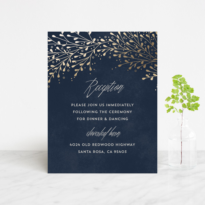 """""""Dreamland decor"""" - Foil-pressed Reception Cards in Peacock by Anupama."""