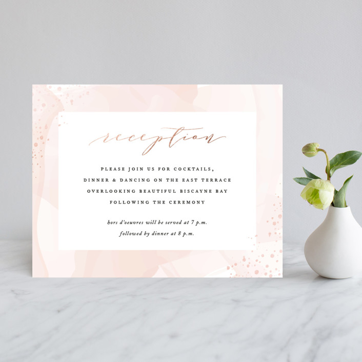 """Formal Watercolor"" - Modern Foil-pressed Reception Cards in Bashful by Jennifer Postorino."