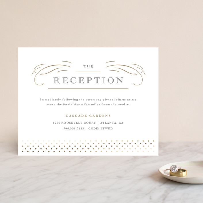 """Gilded Gala"" - Foil-pressed Reception Cards in Mist by Kristen Smith."