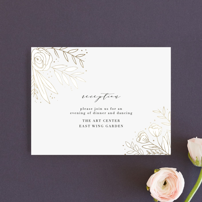 """""""Golden Fields"""" - Foil-pressed Reception Cards in Pearl by Annie Montgomery."""