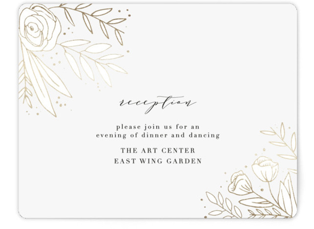 This is a white, gold Reception Cards by Annie Montgomery called Golden Fields with Foil Pressed printing on Signature in Card Flat Card format. Intricately laid flora in a foil patterned background to this elegant, photo Save the Date.
